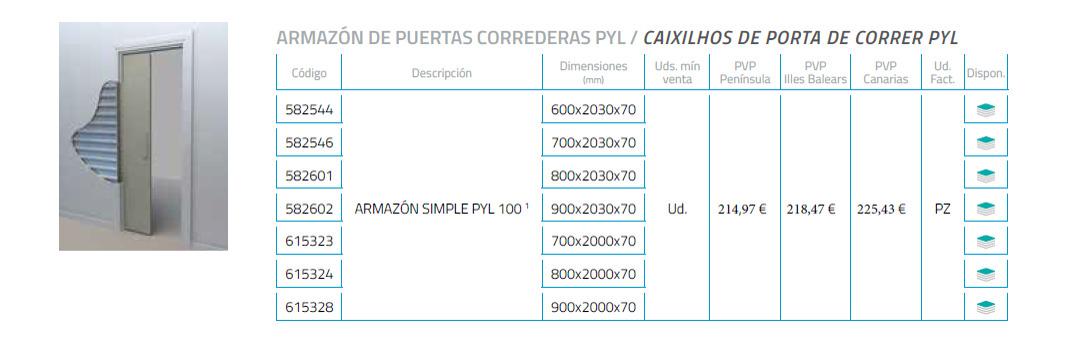 Modificación en los precios del armazón de puertas correderas PYL