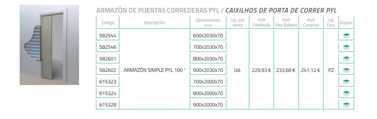 precio del ARMAZÓN DE PUERTAS CORREDERAS PYL